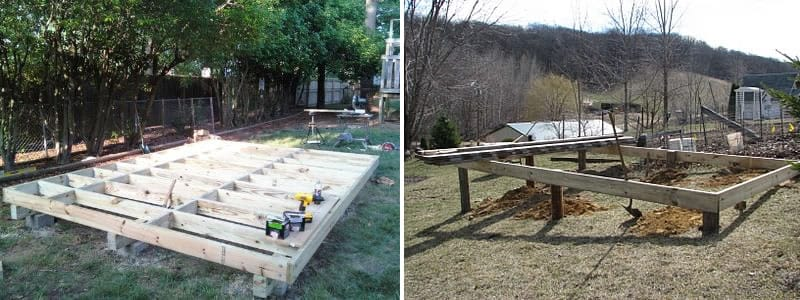 how to build a shed base on a slight slope