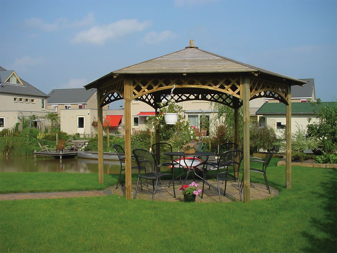 Hexagonal Gazebo Shown With Optional Lattice And A Customer Finial Modification Panels