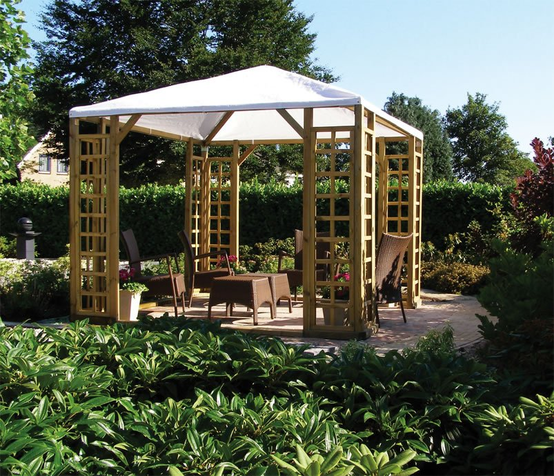 Wooden pergola with canvas plastic shhet roof - Pergola with roof ...