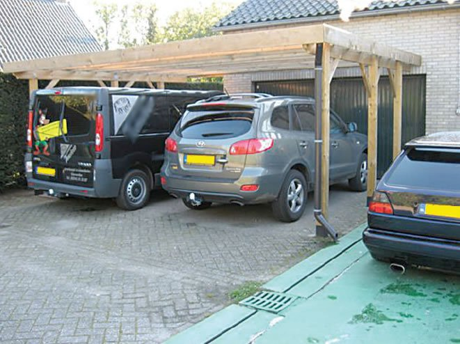 Double free standing carport for Carport size for 2 cars