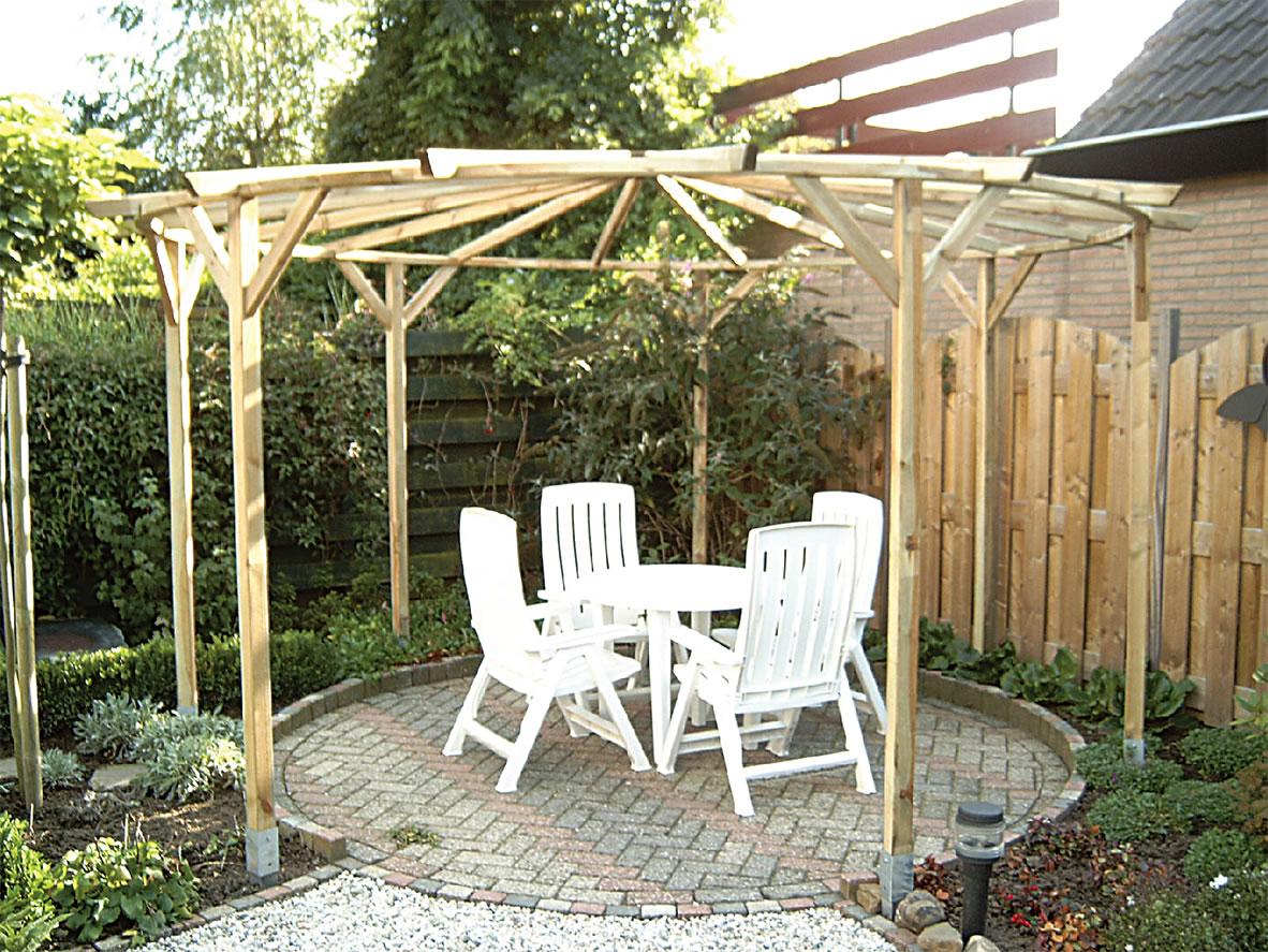 Circular pergola 4m diameter for Outdoor patio design plans