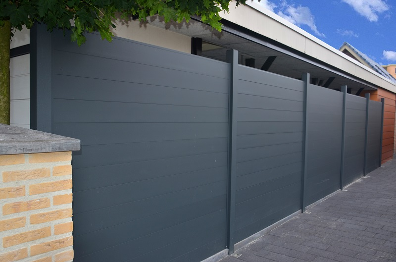 Aluminium U-Profiles being used to make a fence