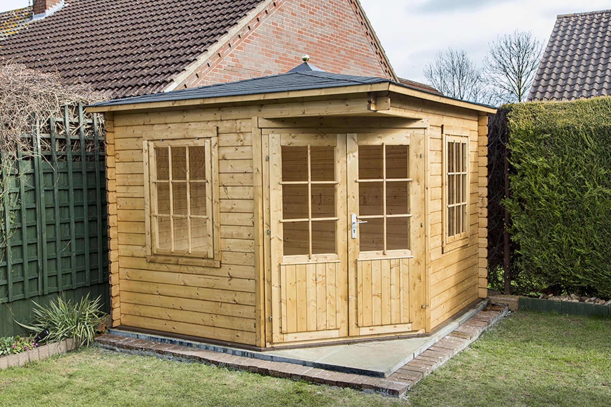 asmund corner log cabin 3x3m. Black Bedroom Furniture Sets. Home Design Ideas