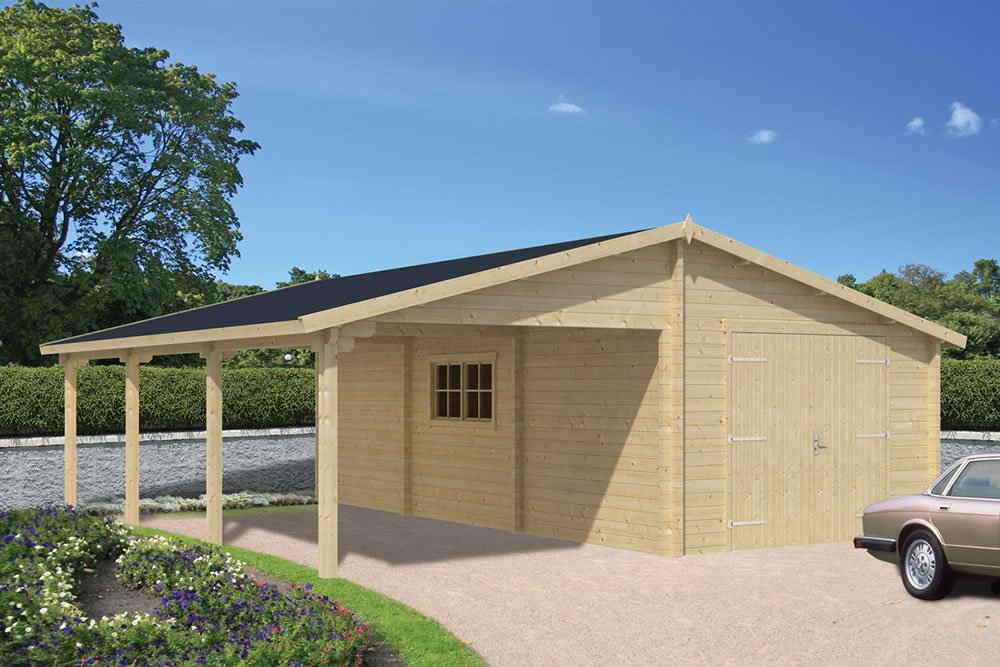 Log garage with carport berggren for Single garage with carport