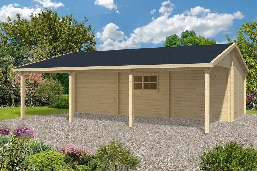 Log garage with carport berggren Garage carports