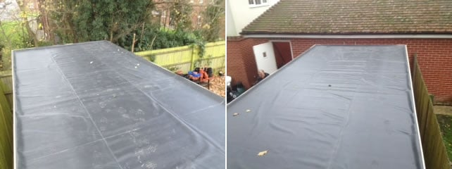EPDM roofing material on a log cabin