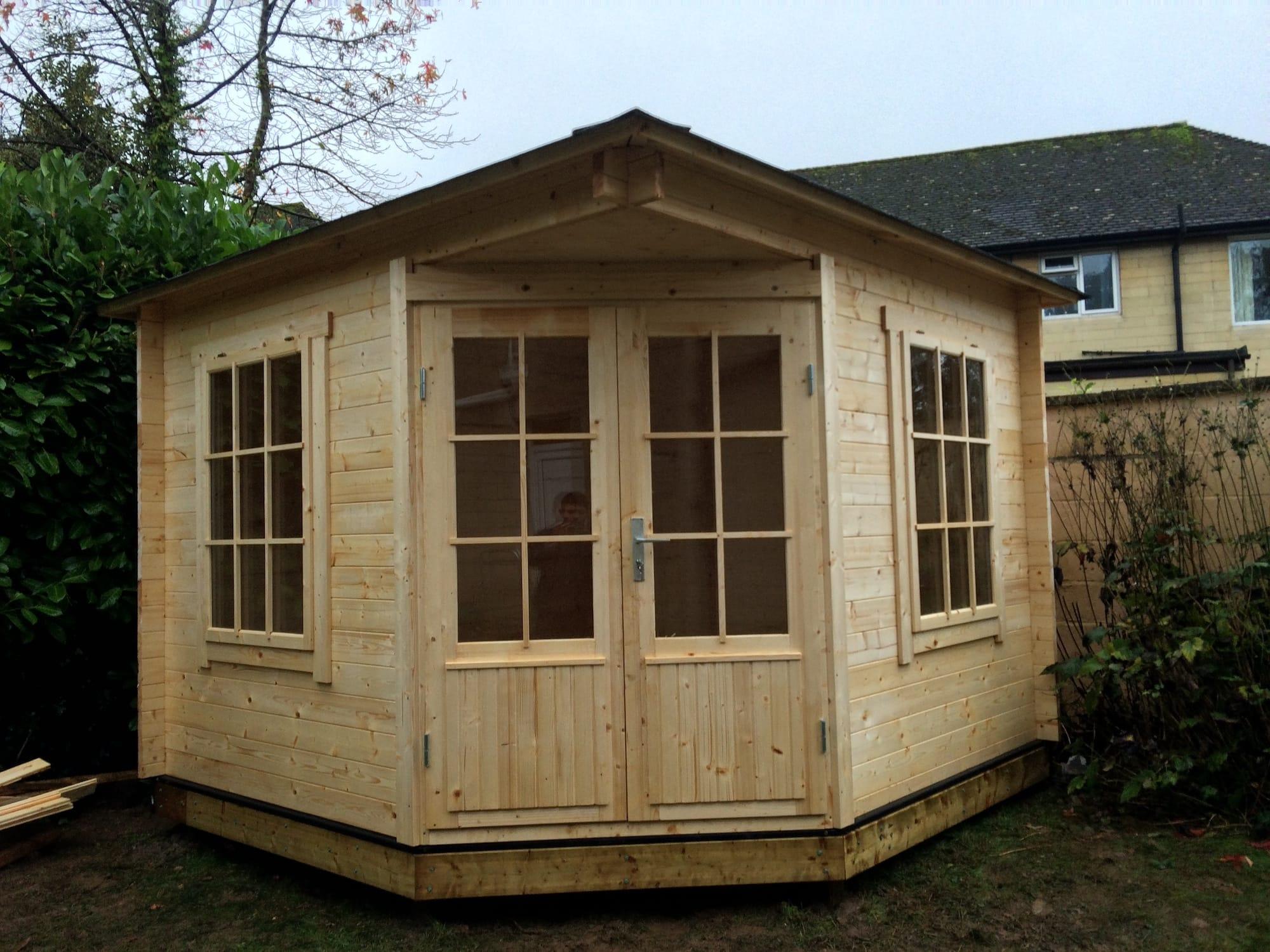 emma double glazed corner log cabin 3 x 3m. Black Bedroom Furniture Sets. Home Design Ideas
