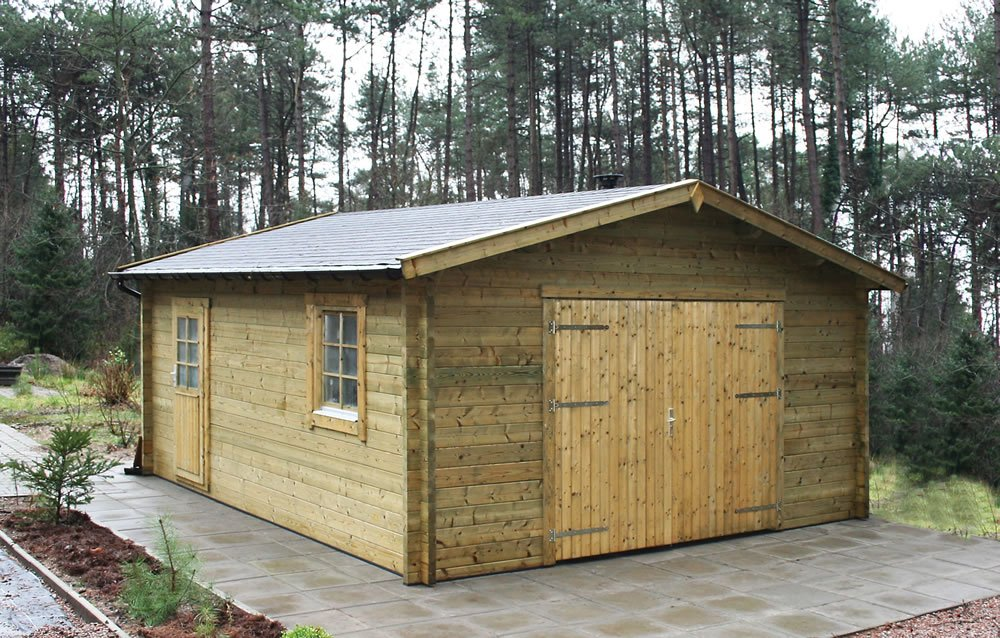 Rydell log cabin garage 4 7 x for Log cabin style garages