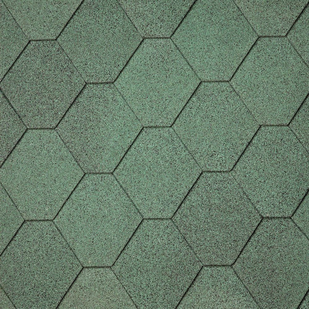 IKO Green Hexagonal Felt Shingles