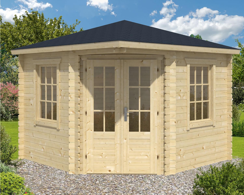 Ingrid corner log cabin summerhouse 3x3m for Ingrid house