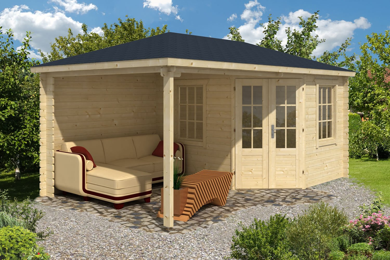 Kennet Log Cabin with Gazebo