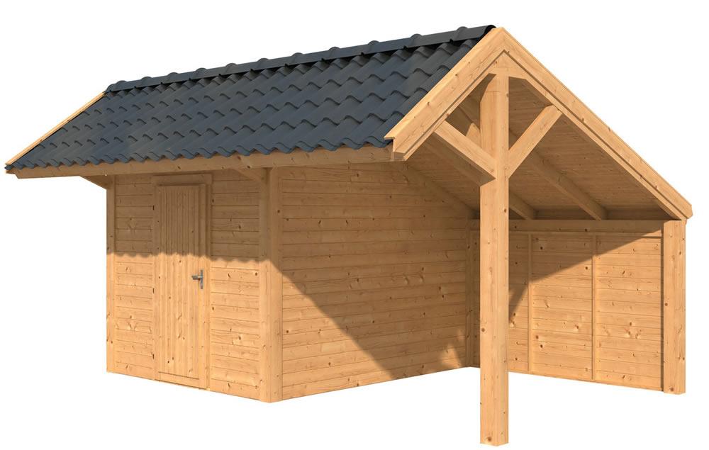Larch apex building with enclosed half and a single door