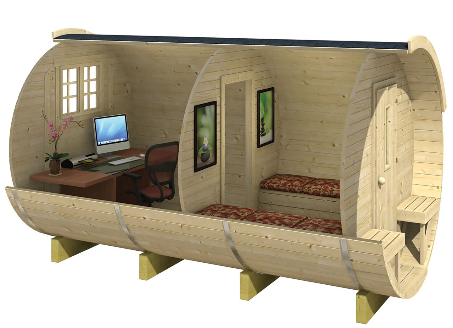 Log Cabin Barrel Camping Pod Or Office