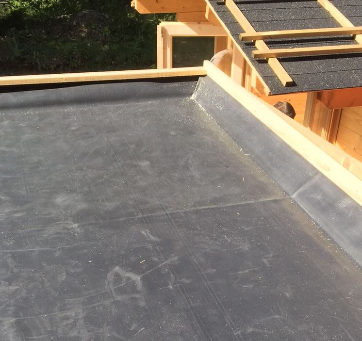 EPDM roof with timber up-stands and trims