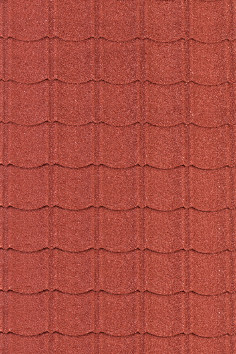 Metal roof tiles in red