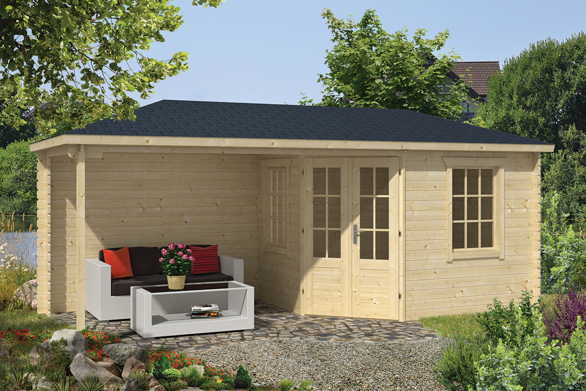 niklas corner log cabin with side canopy. Black Bedroom Furniture Sets. Home Design Ideas
