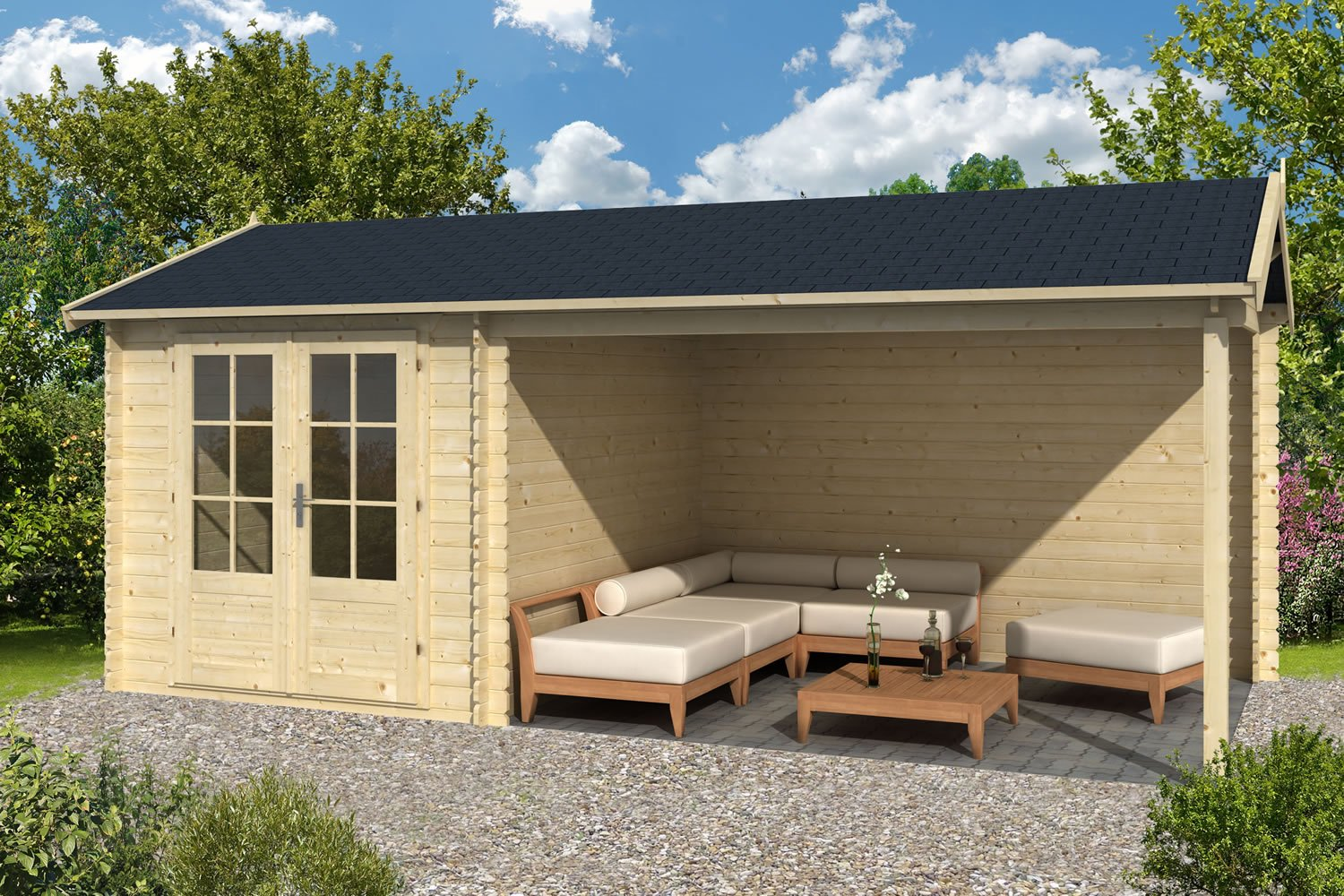 Ove Log Cabin With Side Porch 2.5x3.4m+3.0m
