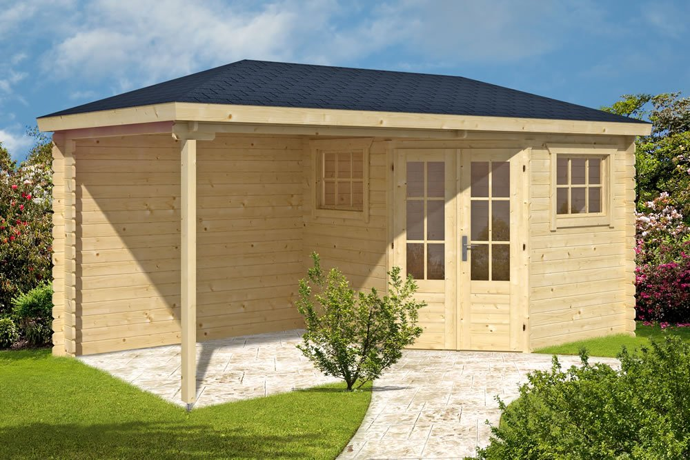 Rianne log cabin with side canopy area.