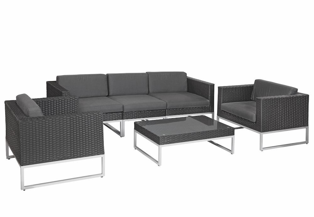 Lounge Set Tuin : Richmond black rattan lounge set