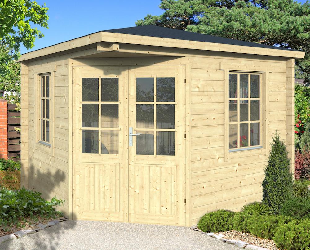 riina 58mm double glazed corner log cabin 3 x 3m. Black Bedroom Furniture Sets. Home Design Ideas