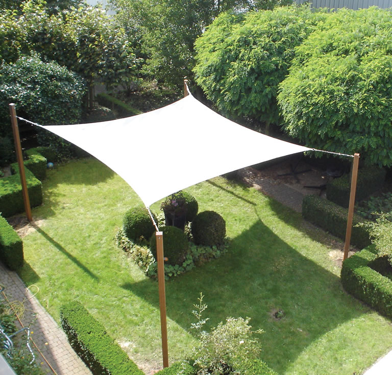 Square garden sail shelter for Small garden shelter