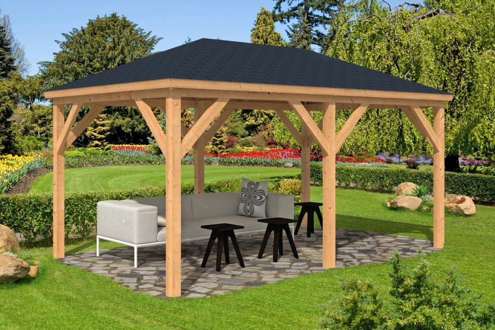 Samos larch wooden gazebo for Gazebo leroy merlin opinioni