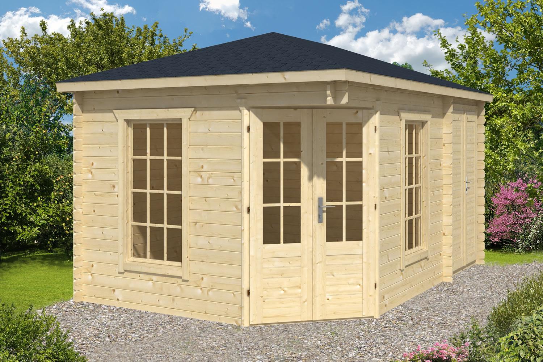 sigrid log cabin with shed annexe. Black Bedroom Furniture Sets. Home Design Ideas