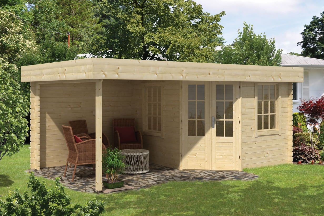 Stig flat roof corner log cabin with a side porch area in 28mm logs