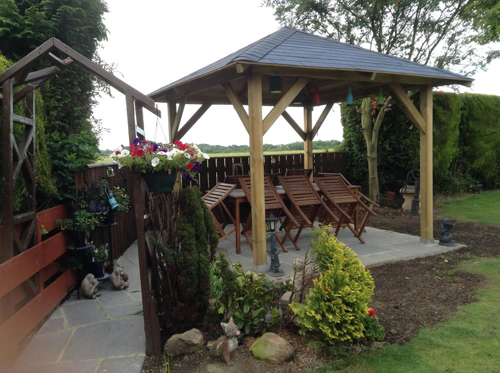 Tourist open timber gazebo - Pergola aluminium 4x3 ...