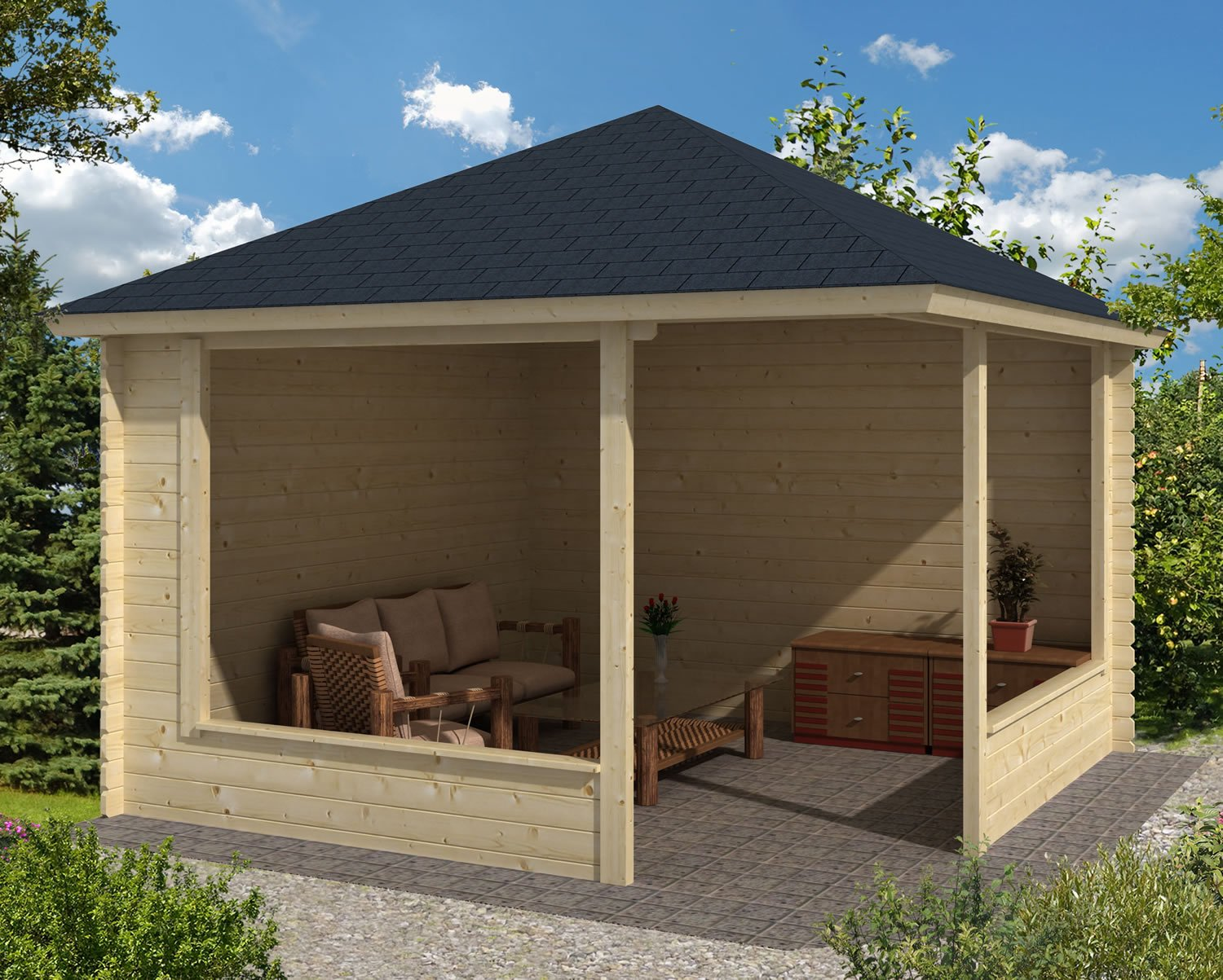 Mk 28mm wooden sheds for Large wooden gazebos