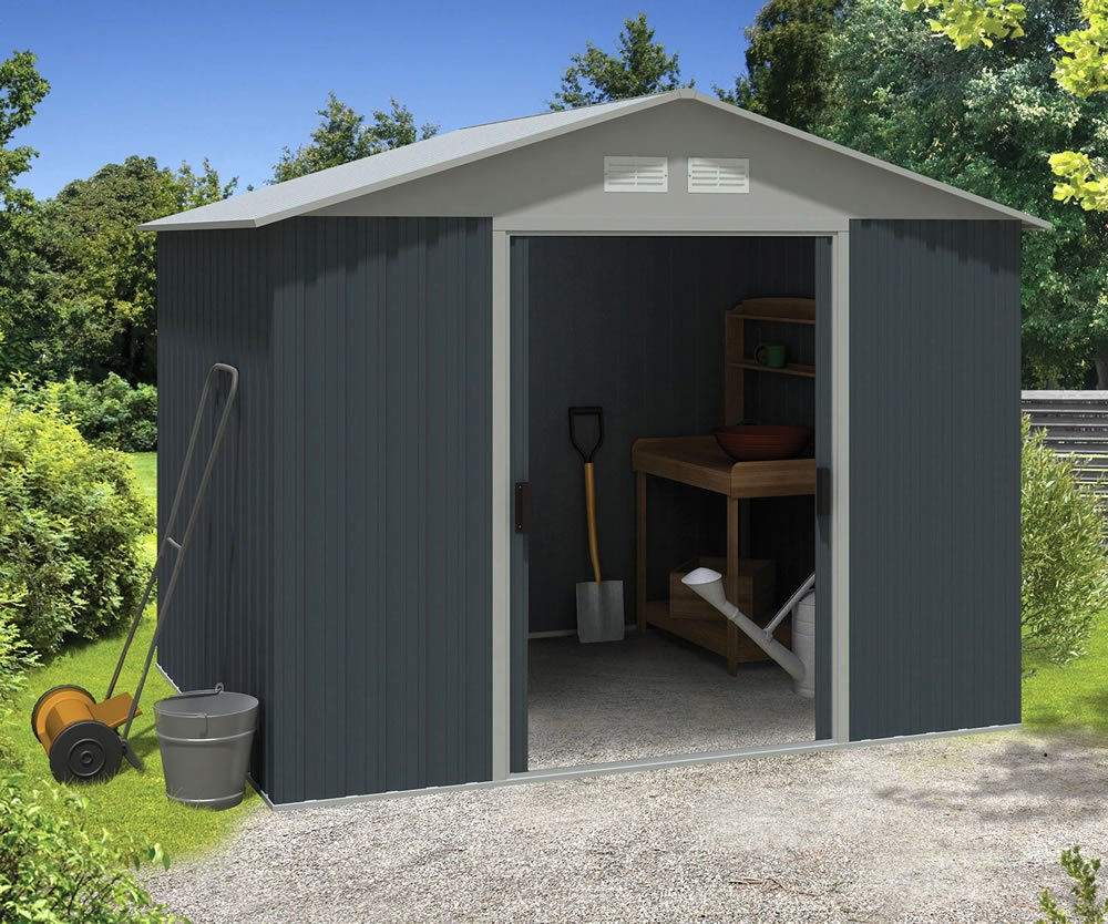 Apex metal shed three