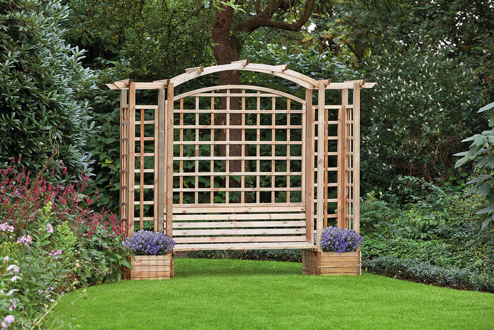 Trellis Arbour with planters and bench