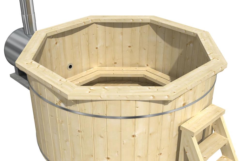 Barrel hot tub with an external heater