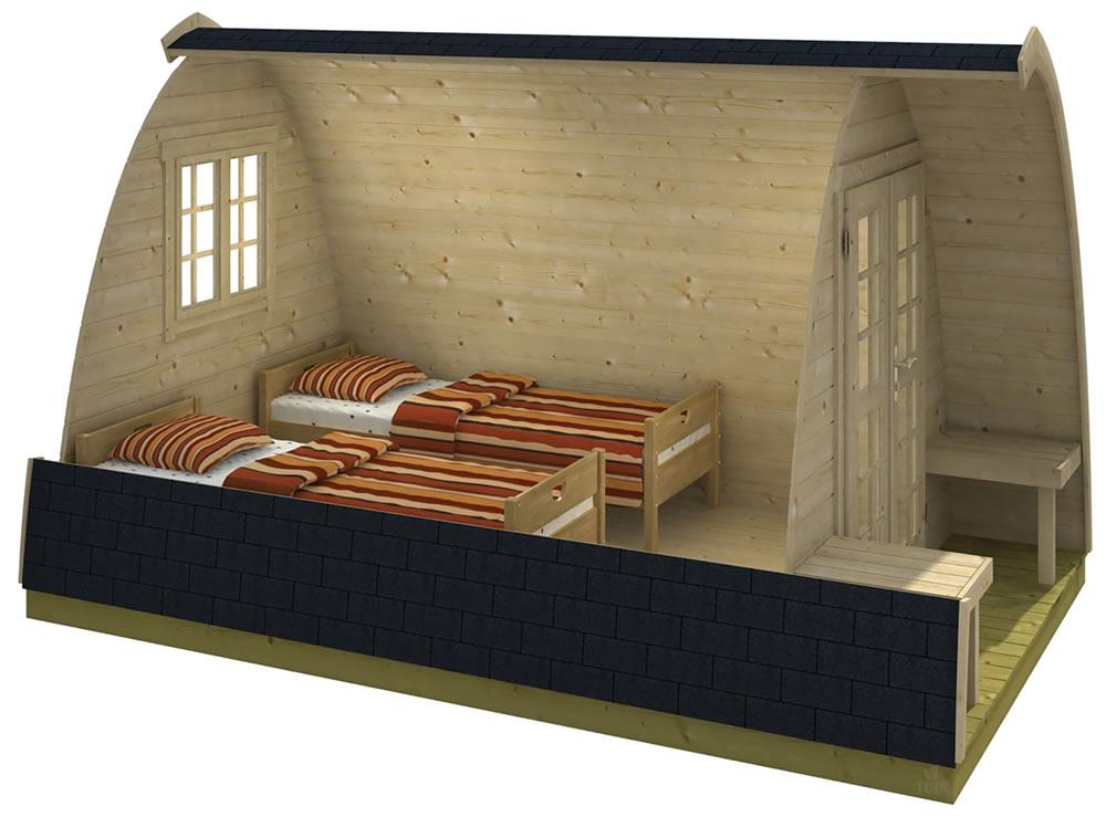 Camping pod internally.