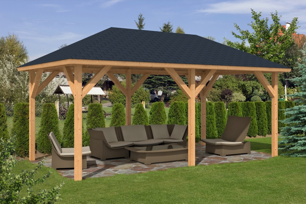 Corfu Larch Gazebo ... - Corfu Larch Wooden Gazebo 3.4x5.9m
