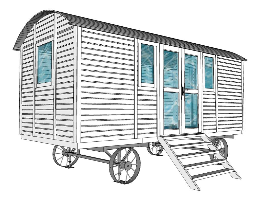 Deluxe shepherd hut line drawing