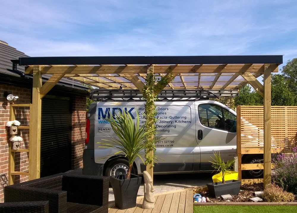 Double timber carport
