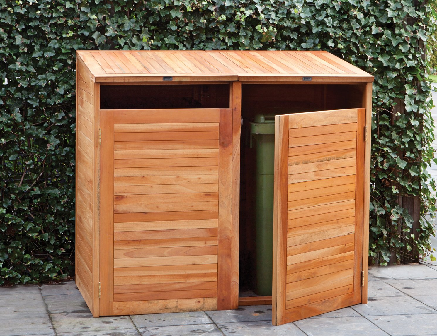 double hardwood wheelie bin store