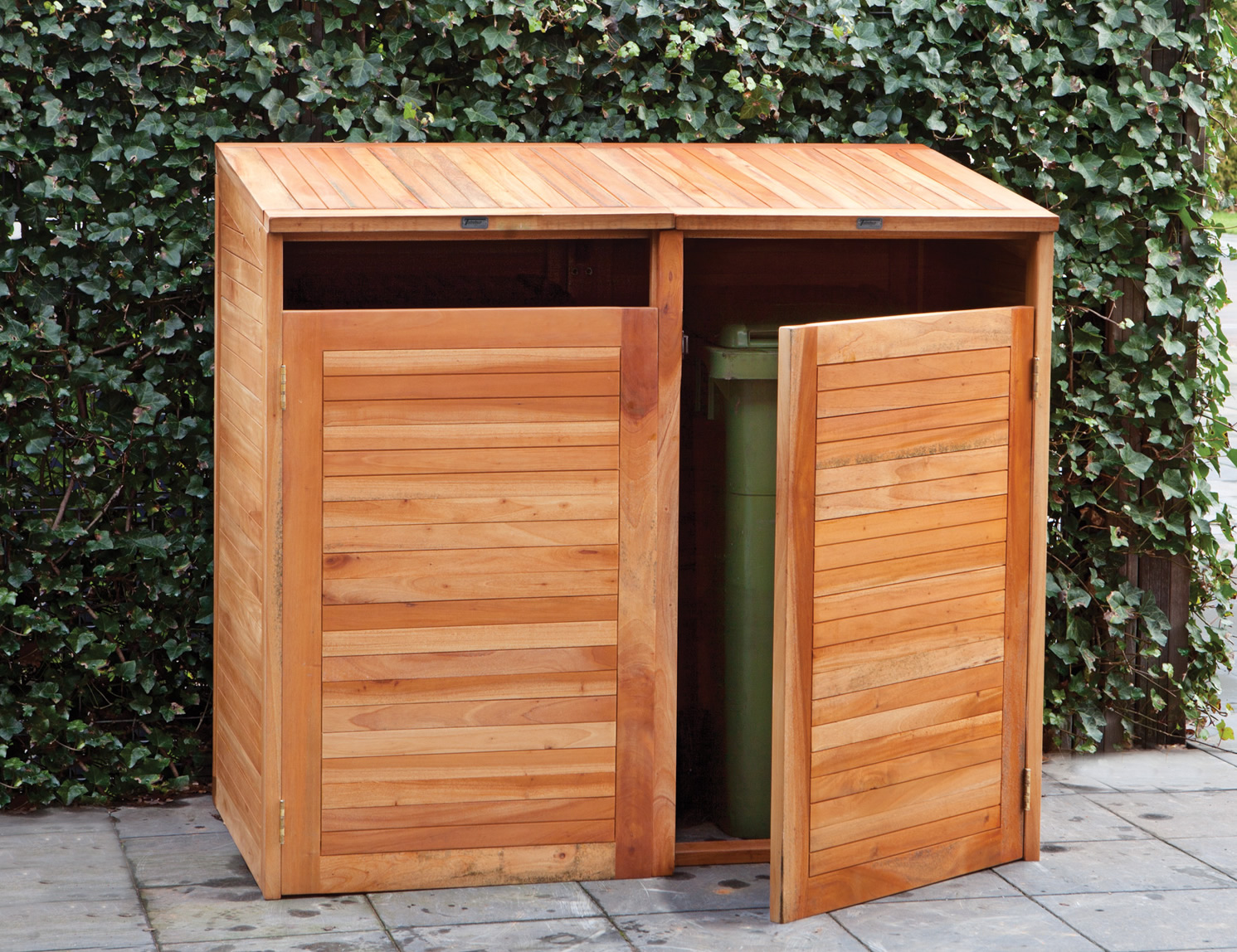 Hardwood double wheelie bin store for Meuble commercial
