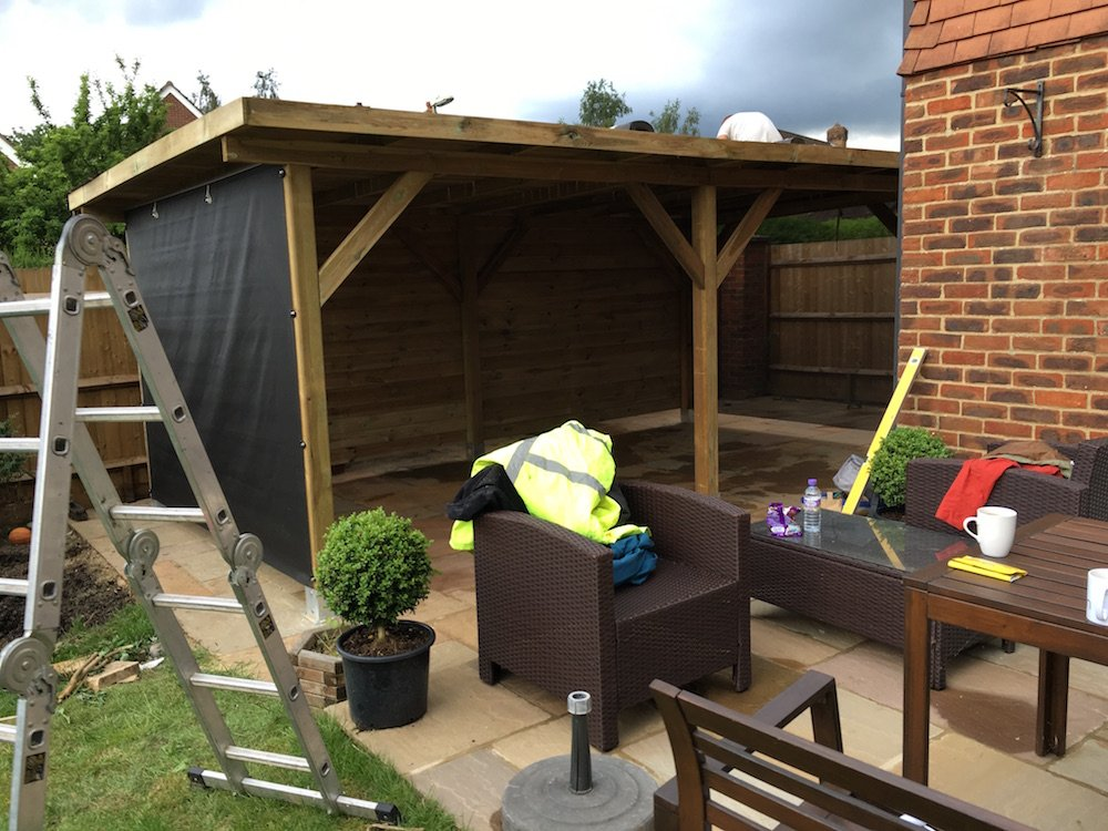 Optional cloth and timber wall on the Modern gazebo