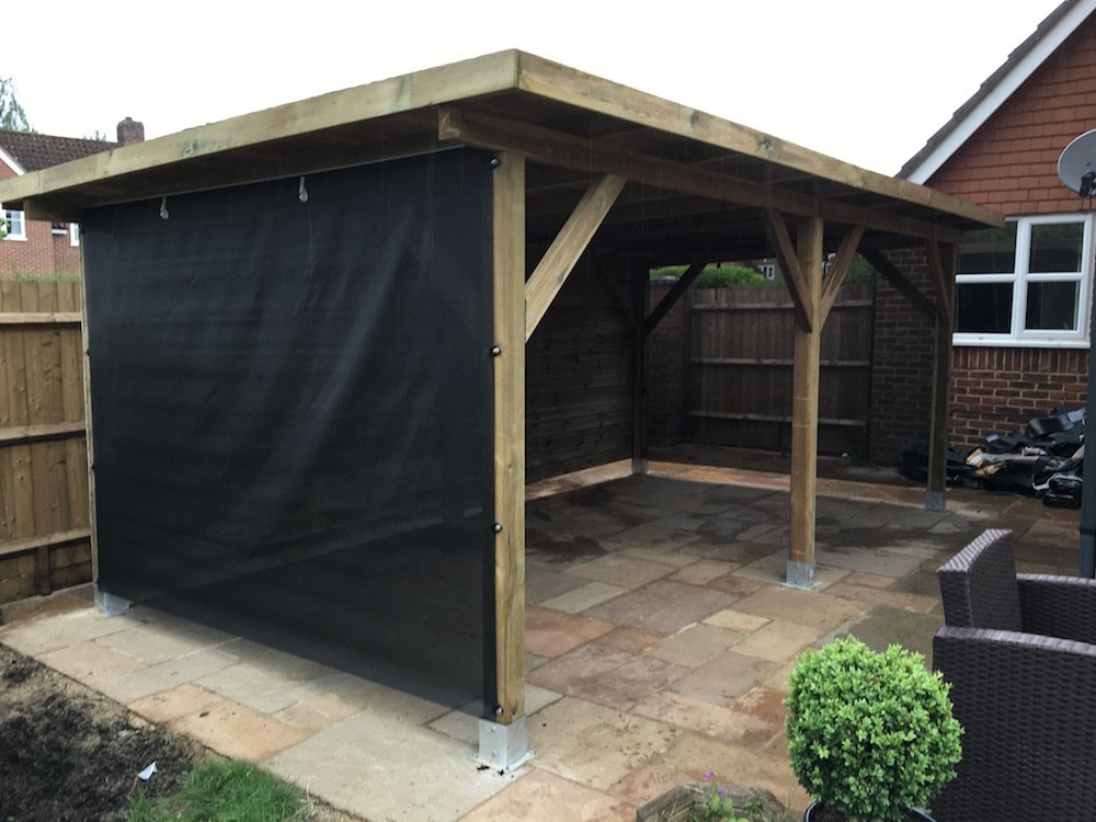 Large modern gazebo. The rear timber wall and cloth wall are extra.