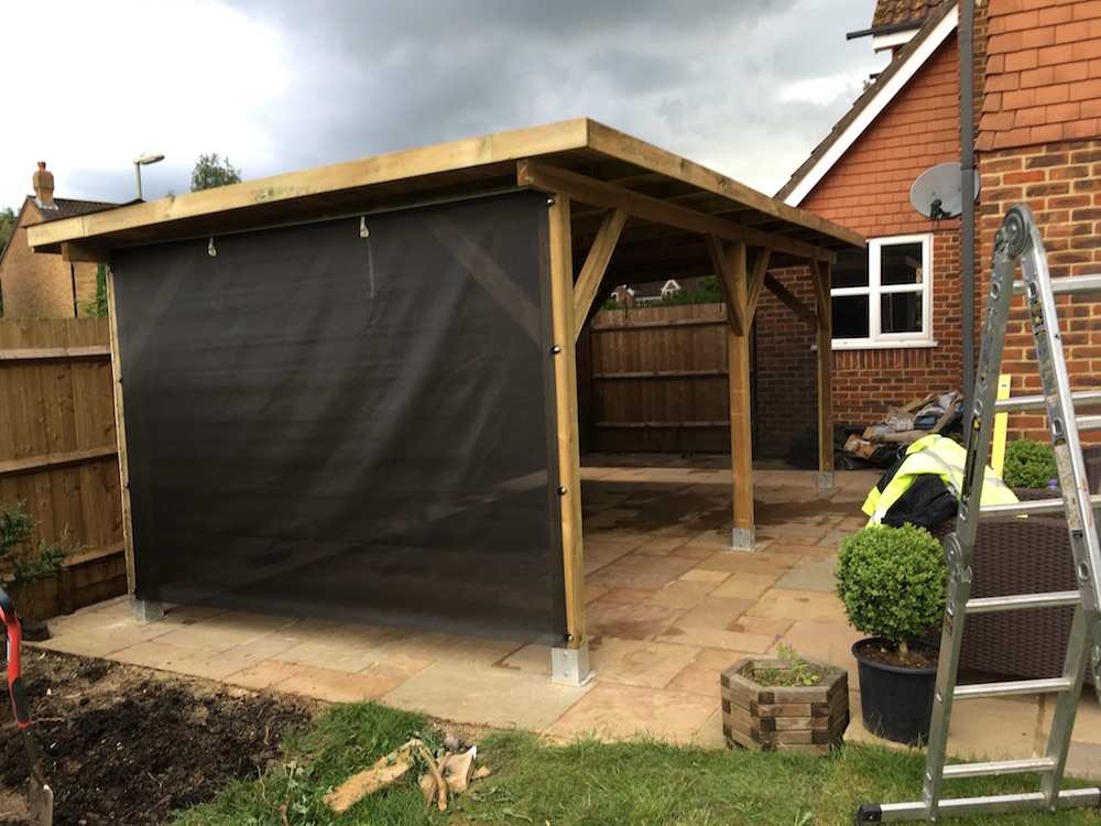 Large modern gazebo with option cloth and timber wall
