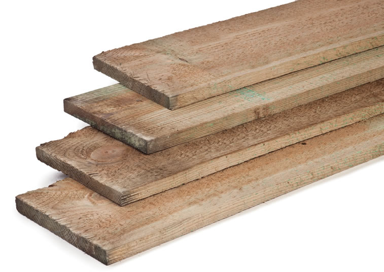 Fine sawn pressure impregnated timber plank