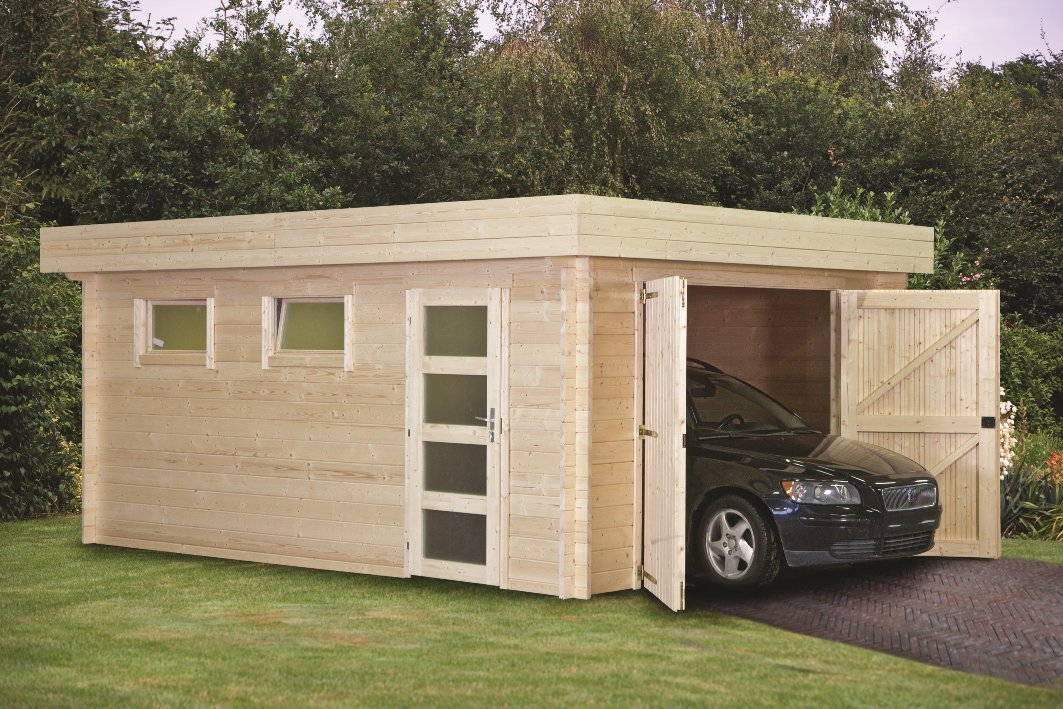 Flat roof log cabin garage 45mm for Log cabin garage