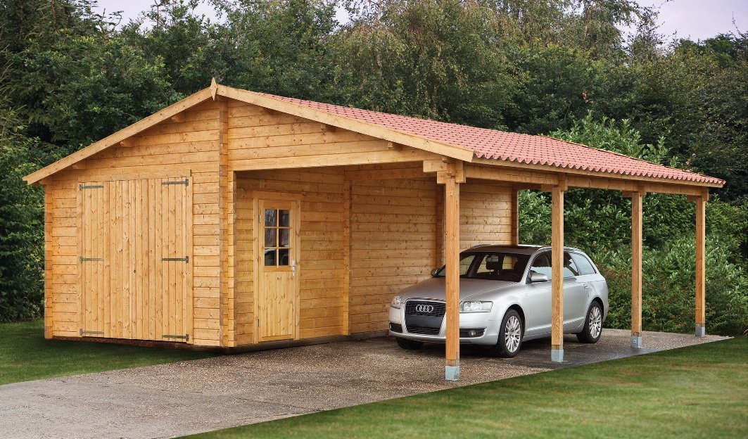 Log garage with carport berggren for Garage and carport