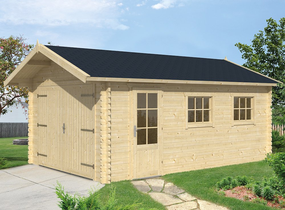 45mm log cabin garage geir for Garage cabins