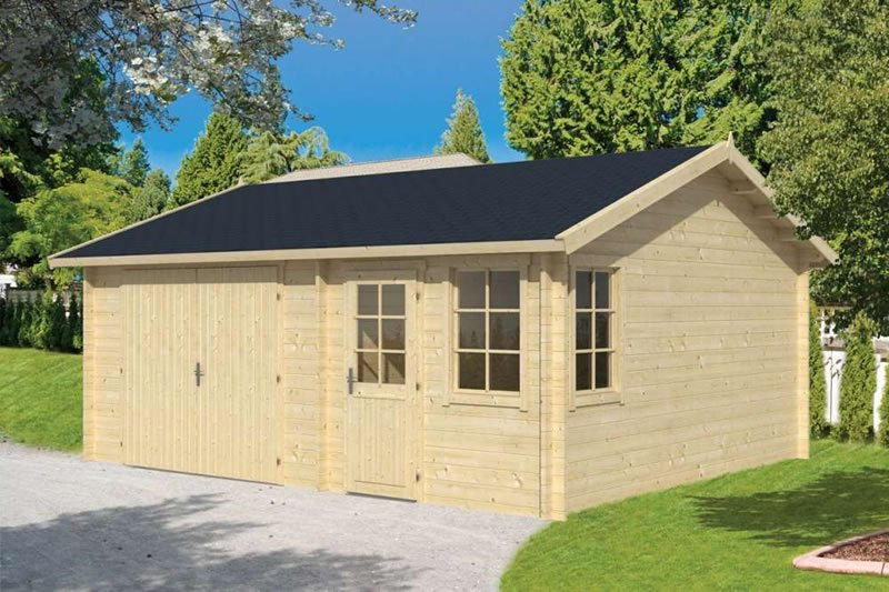 Moa 45mm log cabin garage 5x6m for Log cabin garage