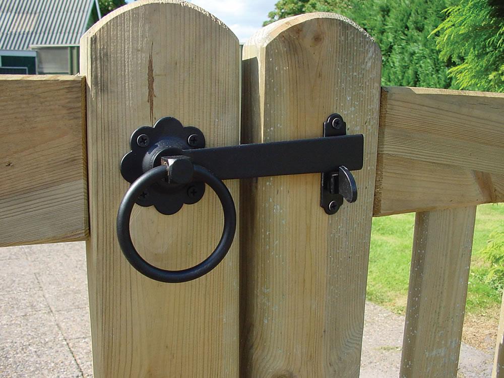Antique style garden gate hinge set