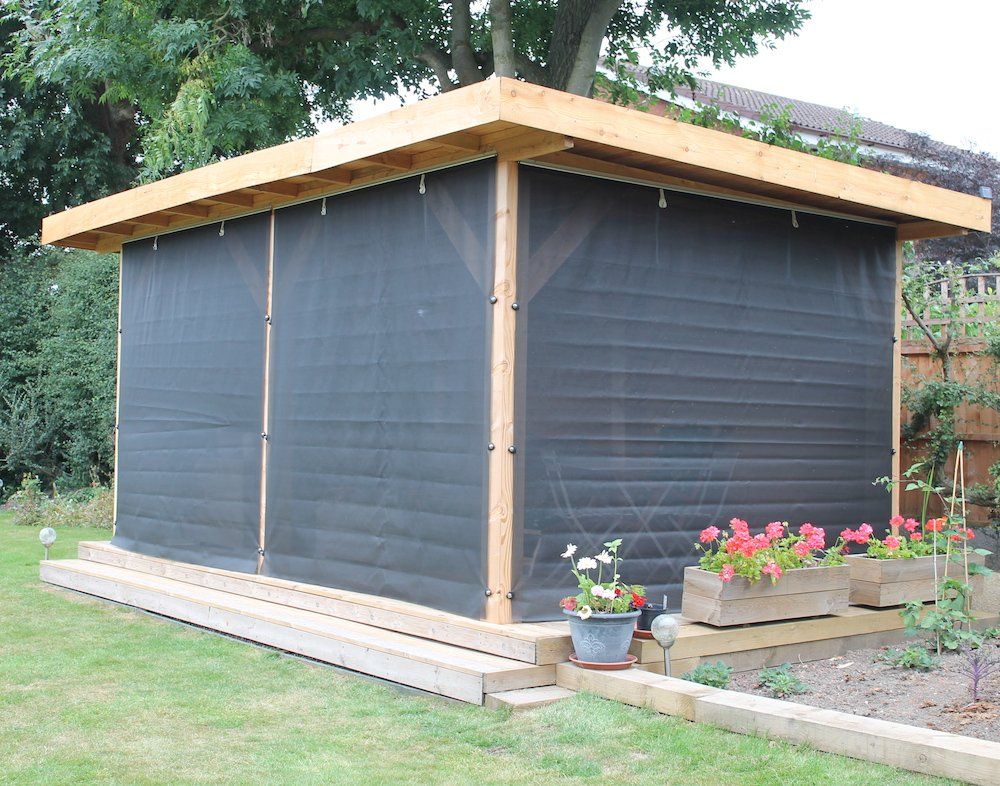 Gazebo roll up cloth walls for wind protection
