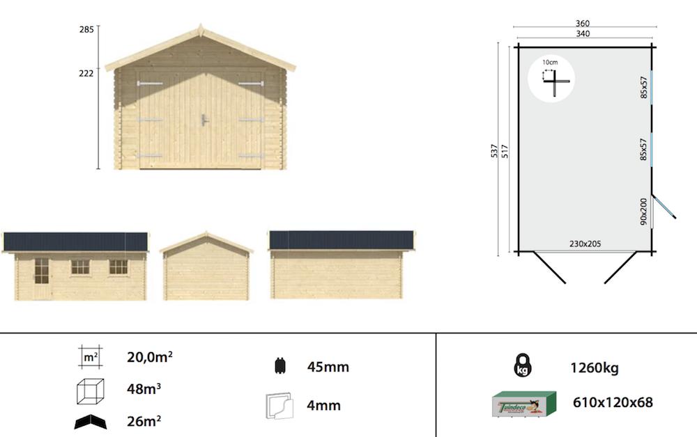 Geir log cabin garage spec